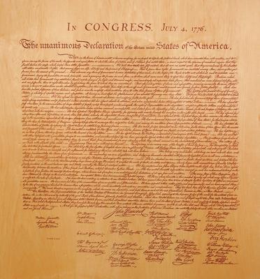 Laser Burn of Declaration of Independence