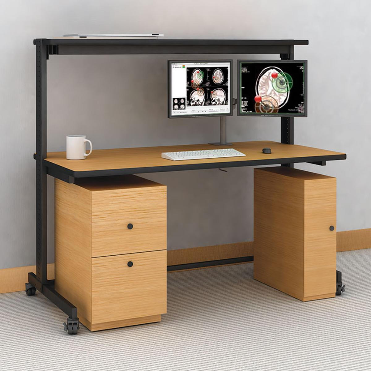 772297 Steel Frame Computer Table With Cabinets Afc