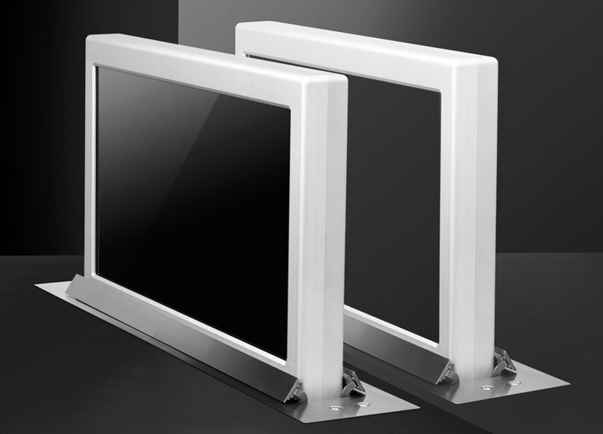 Dynamic1twin motorised vertical retractable monitor lift for Vertical retractable screen