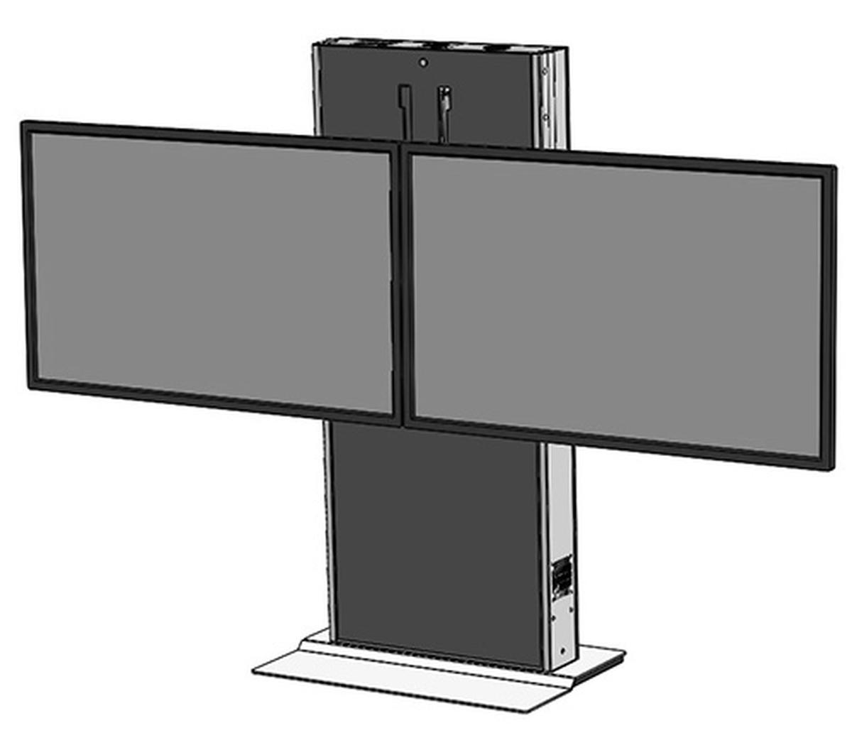 lft7000fs d heavy duty fixed lift stand for dual tv 39 s and interactive displays audio visual. Black Bedroom Furniture Sets. Home Design Ideas