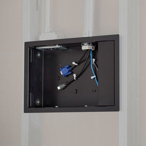 Pac525f In Wall Storage Box With Flange Black Chief