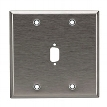 Stainless Steel Wallplate, DB9, Double-Width, 1-Punch