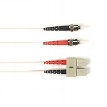 Multimode, 10-GbE 50-Micron OM3, Multicolored Fiber Optic Patch Cable, Plenum, ST-SC, White, 6-m (19.7-ft.)