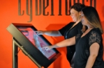 """Mobile is a 32"""" mobile, multitouch, multi-user interactive touch table. All  Mobile tables are fully integrated complete with base, stand, wheels, and adjustable table height selection."""