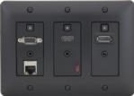 3-gang Wallplate-style HDBaseT Extender with LAN Port, Black