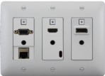3-gang Wallplate-style HDBaseT Extender with LAN Port, White