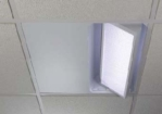 230V Rotate-Contrast Offset-mount Videoconference Fixture, One 2-lamp Carriage, Ecosystem Ballast, 595 x 595 x 179.62mm Perforated Panel