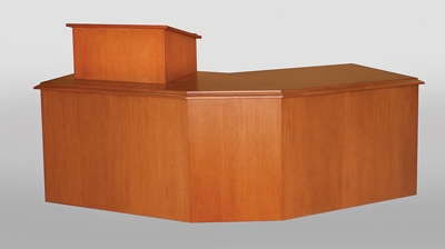 Custom Mahogany Angled Desk is Mobile