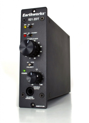 Earthworks Now Shipping 521 ZDT Preamp for 500 Series Racks