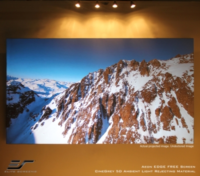 """New AEON """"edge-free"""" Projection Screen Comes in Matte White or Ambient Light Rejecting Material for the Consumer Retail channel!"""