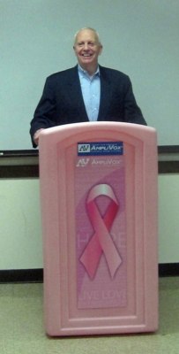AmpliVox Pink Podiums Promote Breast Cancer Awareness Nationwide