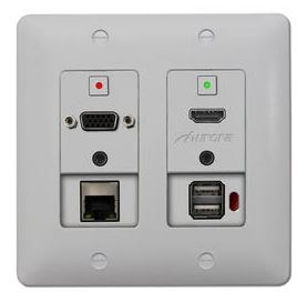 DXW-2 incorporates the latest in HDBaseT HDMI Extenders - a 2-gang wall-plate w/ 1-HDMI, 1-VGA/YPbPr 2-Audio L/R input Ethernet / USB Pass Thru
