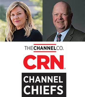 Richard Hutton, Sr. Dir. Channel Mktg. and Betsy Larson, VP of Channel Sales, at NEC Display Solutions Recognized as 2018 CRN® Channel C