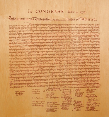 Laser Burn of Declaration of Independence