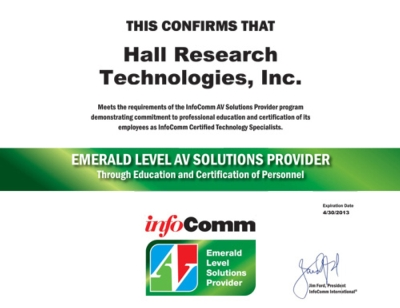 Hall Research Achieves InfoComm International Emerald AVSP Level Designation
