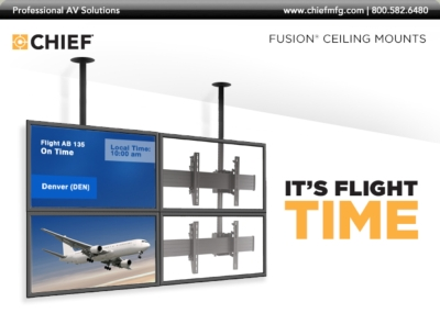 Take to the skies with Chief's new FUSION® Ceiling Mounted Video Walls