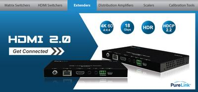 PureLink Introduces World's First HDMI 2.0 UHD/4K HDBaseT Extenders -  Company's New Extension Systems Feature POE, HDR and 4K60 4:4:4 Support
