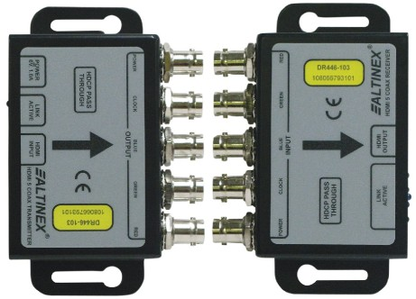 ALTINEX INTRODUCES DR446-103 HDMI VIDEO OVER 5-COAX TRANSMITTER-RECEIVER - Use existing cabling infrastructure to transmit high resolution digital HDM