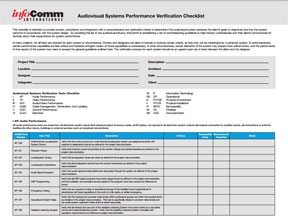 """Check"" out the new AudioVisual Systems Performance Verification Checklist"