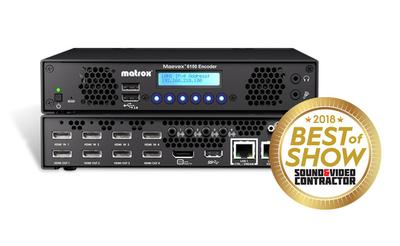 Matrox Maevex 6150 Quad 4K Enterprise Encoder Wins NAB 2018 Best of Show Award