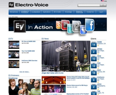 Electro-Voice launches all-new website at Winter NAMM 2010