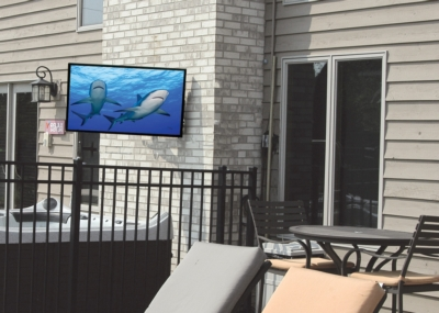 Peerless-AV® & Almo® Showcase UV2™ Outdoor TV at Architectural Digest Home Design Show in Booth #269