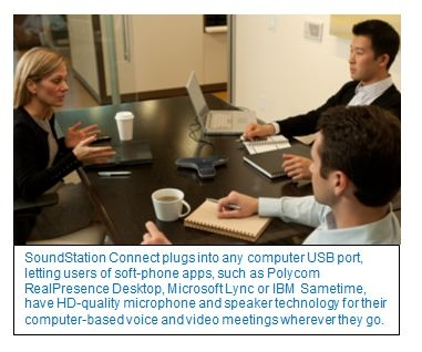 Polycom® SoundStation® Connect Delivers Polycom's Legendary Audio Quality to Desktop or Laptop-Based Meetings, Anywhere Users Go