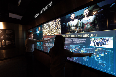 CyberTouch Custom Wall and Table at The Mob Museum