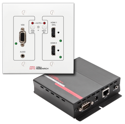 Hall Research Unveils VGA, HDMI, MHL Auto-Switching Wall-Plate with HDBaseT™
