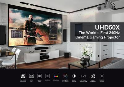 Optoma Unveils UHD50X, World's First 240Hz 4K UHD Home Theater Projector