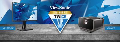 The ViewSonic VP2785-2K ColorPro Monitor and X10-4KE Home Theater Projector Awarded the 2020 TWICE VIP Awards
