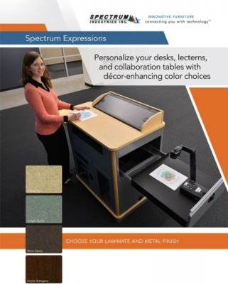 Spectrum Expressions program launched expanding laminate and finish color offerings for lecterns, tables, and desks.