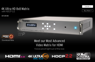 New Gefen Matrix Provides 4K Ultra HD Switching and HDCP 2.2 Compatibility