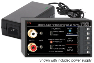 RDL introduces the TX-PA40D 40 W Stereo Audio Power Amplifier