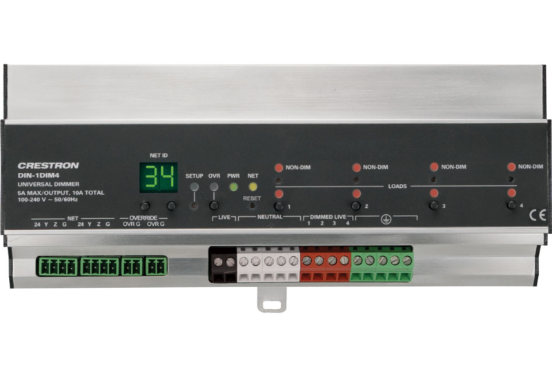 DIN-1DIM4 | DIN Rail Dimmer, 1 feed, 4 channels | Crestron