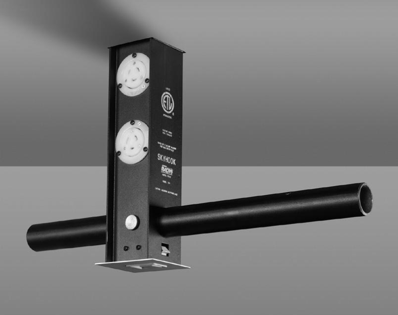 Skyhook With (1) 20A PBG Receptacle, (1) 5 Pin DMX Output And (2) 20A  Grounded Stage Pin Receptacles