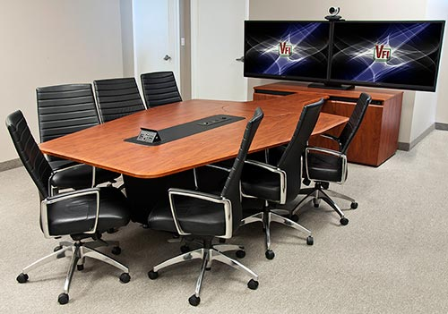 T T Video Conference Table Audio Visual Furniture - Conference table cubby