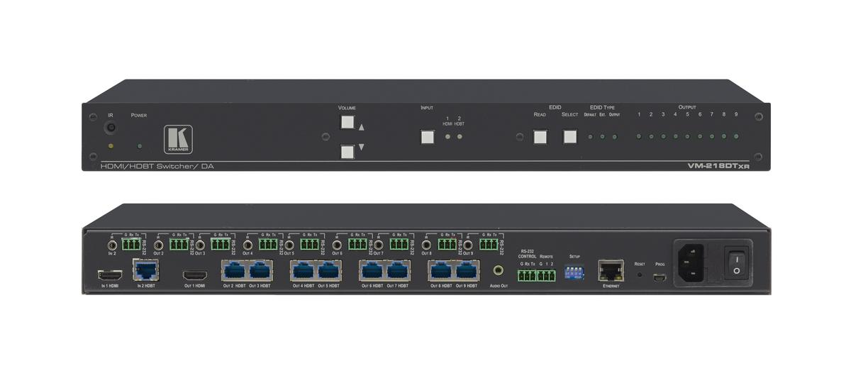 VM-218DTxr | 2 x 1:8 4K60 4:2:0 HDMI and Extended Reach HDBaseT with