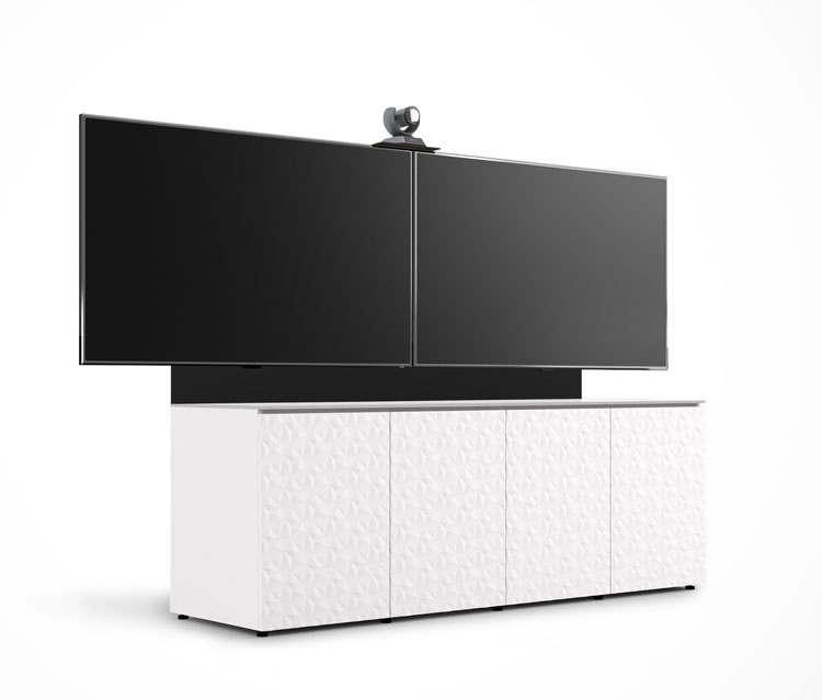 D1/347AM2/ML/WH/WH | 4 Bay Low Profile Cabinet W/Vertical Rack Mount, Dual  TV Mount U0026 Camera Mount, Diamond Pattern  White/White | Salamander Designs  | AV  ...