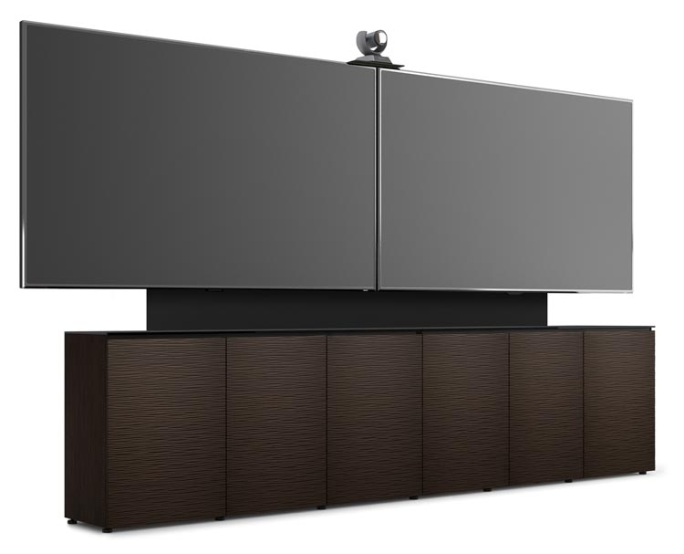 Genial D1/367AM2/BL/WE | 6 Bay Low Profile Cabinet W/Vertical Rack Mount, Dual TV  U0026 Camera Mount, Wave Texture  Wenge | Salamander Designs | AV IQ