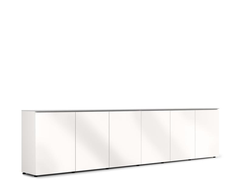 D1/367A/MM/GW/WH | 6 Bay Low Profile Cabinet W/Vertical Rack Mount, Gloss  White/White | Salamander Designs | AV IQ