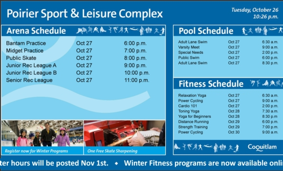 City of Coquitlam - Poirier Sport and Leisure Complex Digital Signage