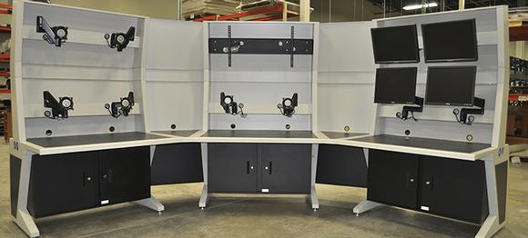 Control Consoles Use Chief Monitor Mounts for Precise Screen Placement