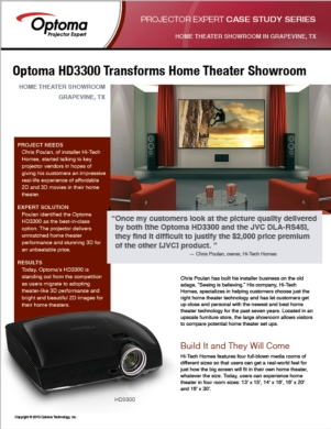 Optoma HD3300 Transforms Home Theater Showroom