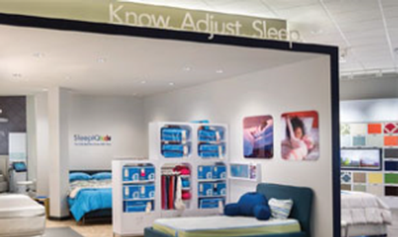 Back  LampFree projection transforms a unique product demonstration into a storewide experience for Sleep Number